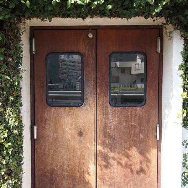 つぶらな瞳に見えるドアで、アフロな植物。